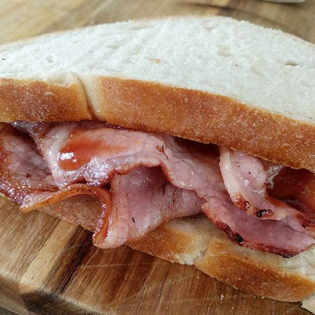Today's lunch: a homemade bacon sandwich, made with the British Sausage Company's new streaky bacon that I found in the supermarket today. Delicious