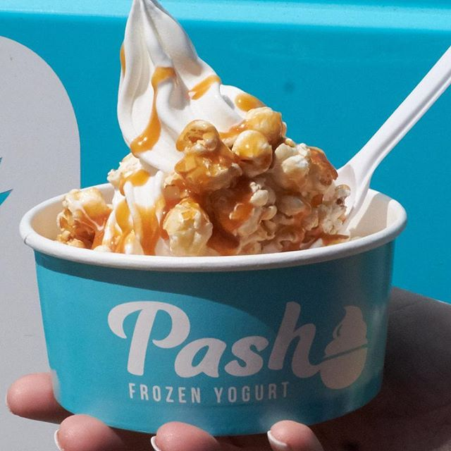 Finally tried Pash Frozen Yogurt at the Cider & Pork Festival today – this delicious combo included caramel popcorn and caramel sauce! #morsels
