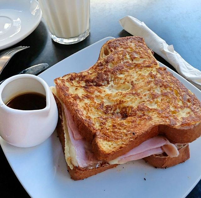 Delicious French toast with ham, cheese & maple syrup from La Patisserie in South Perth