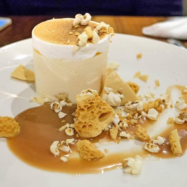 A beautiful & delicious dessert from Chophouse Perth – popcorn brittle semifreddo with salted caramel and buttered popcorn